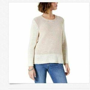 Style & Co M Ivory Beige Crew Neck Sweater 4AA34